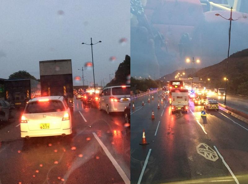 運輸署表示,現時北大嶼山公路往九龍方向近小蠔灣車廠位置交通擠塞。香港突發事故報料區fb群組