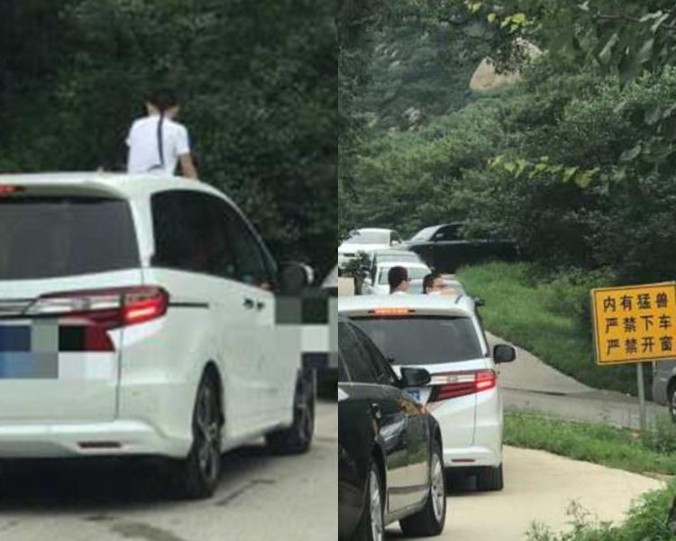 2童半身伸出車外。網上圖片