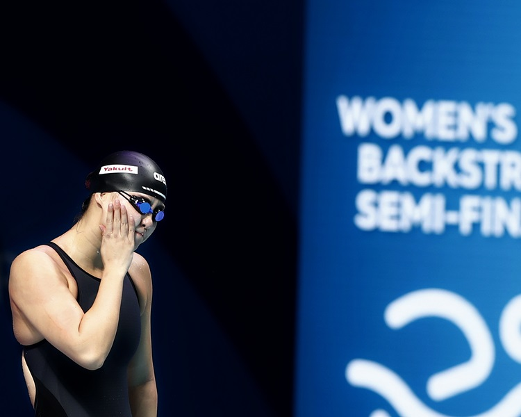 「火雞姐」傅園慧100米背泳意外出局。新華社圖片