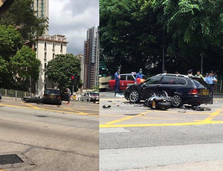 私家車司機疑違例右轉,23歲鐵騎士被撞至昏迷。網民Kit Sai/ 香港鐵騎館(吹水區)fb群組