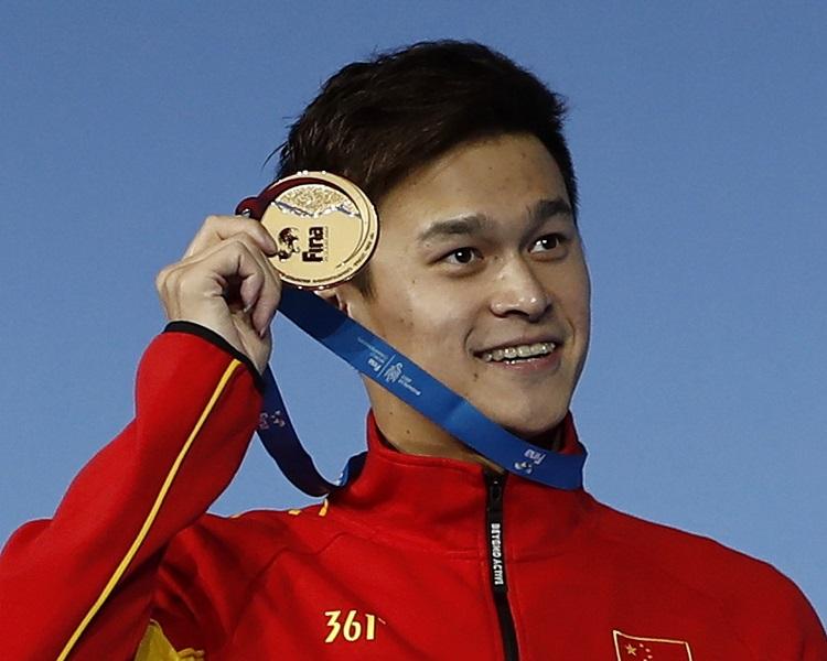孫楊200米奪金兼破亞洲紀錄。新華社圖片