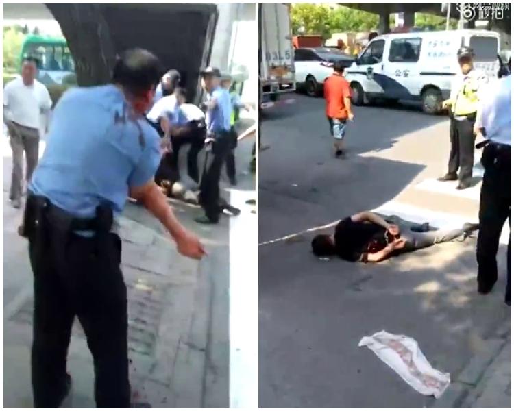 有民警在行動中受傷(左)。疑犯被制伏在地。