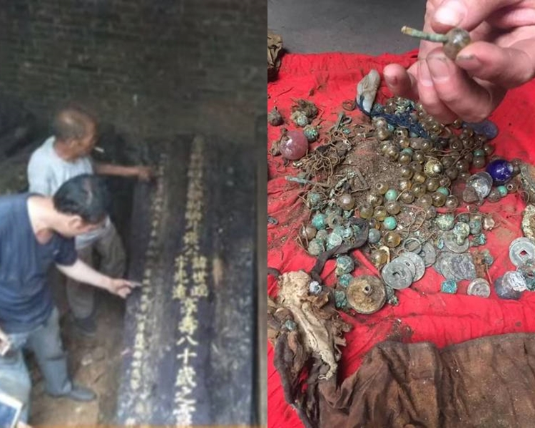 張家三兄弟在祖墳中發現大量陪葬的首飾珠寶。