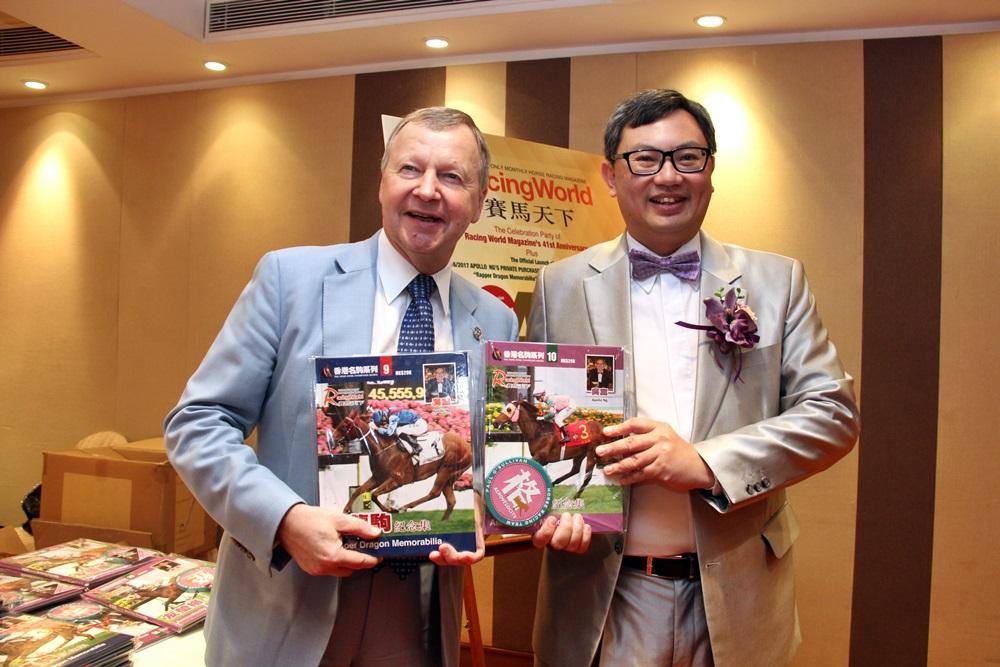 吳嵩早前在榮休儀式上,與馬會總裁應家柏(左)合照。