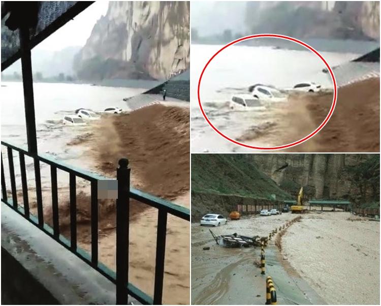 洪水不僅沖毀飲馬溝峽谷的基礎設施,還將溝內的4輛遊客私家車等沖下黃河(紅圈示)。網圖