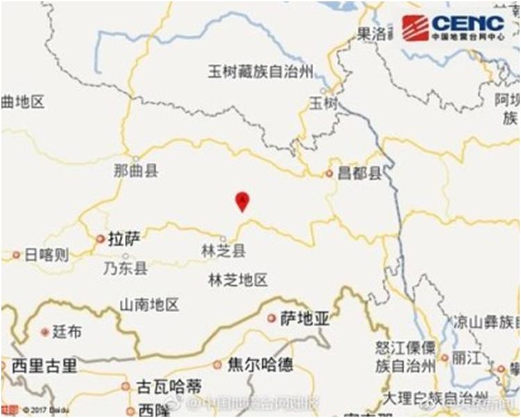 地震的震源深度為7000米。網圖