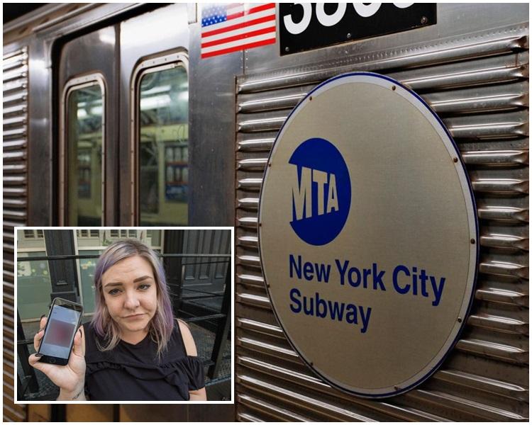 受害女子展示手機收到的不文照片。