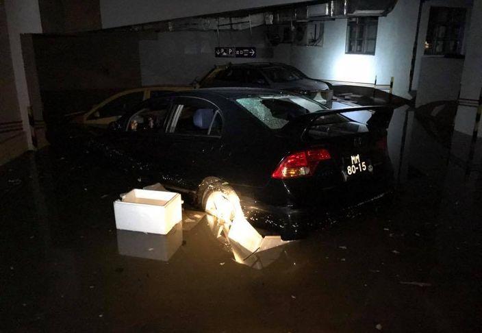 澳門多個停車場水浸。網上圖片
