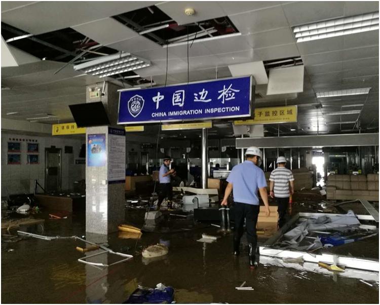 珠海九洲港碼頭災情嚴重。網圖