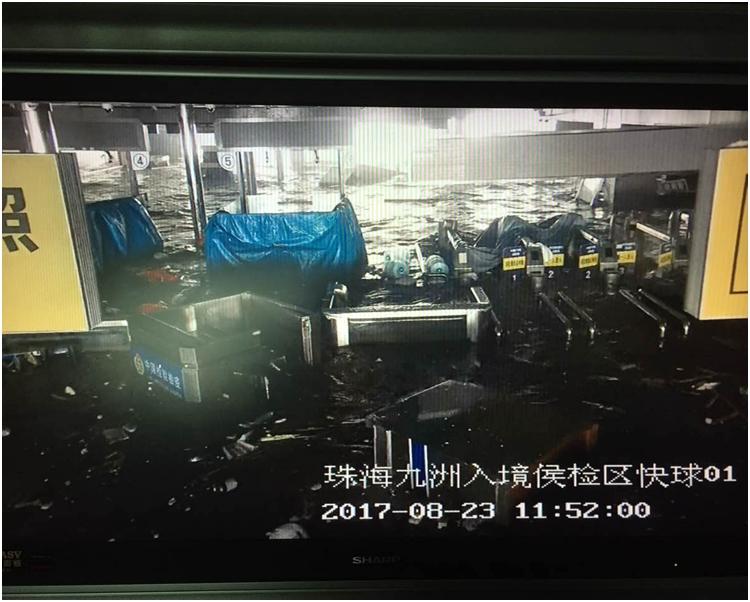 珠海九洲港碼頭受損嚴重。網圖
