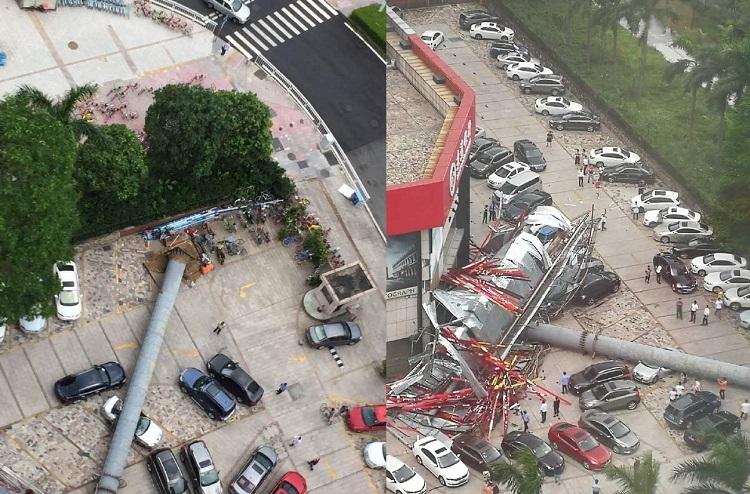 東莞市一個巨型三角廣告牌倒塌,十多輛車遭壓毀(網上圖片)