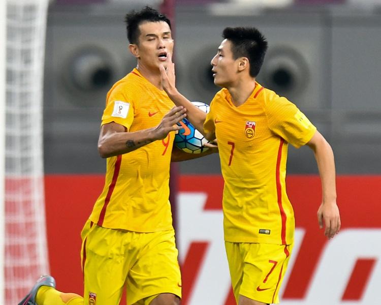 中國2:1反勝卡塔爾仍緣盡世盃。新華社圖片