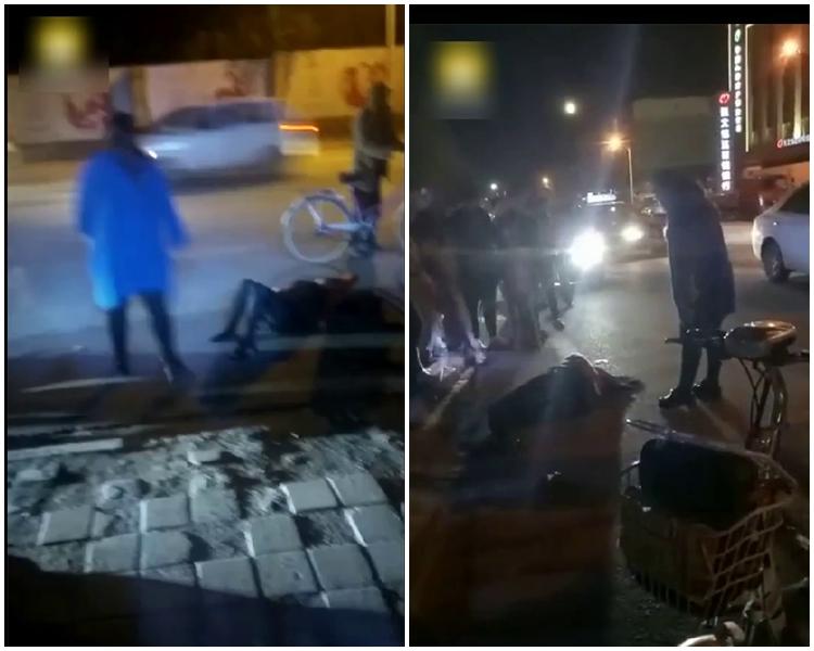 河北省張北縣街頭上演一場「大婆打情婦」鬧劇。片段截圖