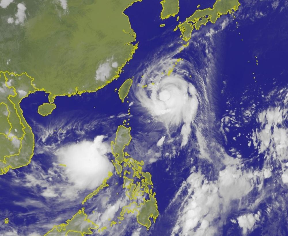 颱風泰利持續偏北移動。中央氣象局