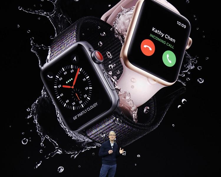新Apple Watch可與iPhone共用電話號碼。AP