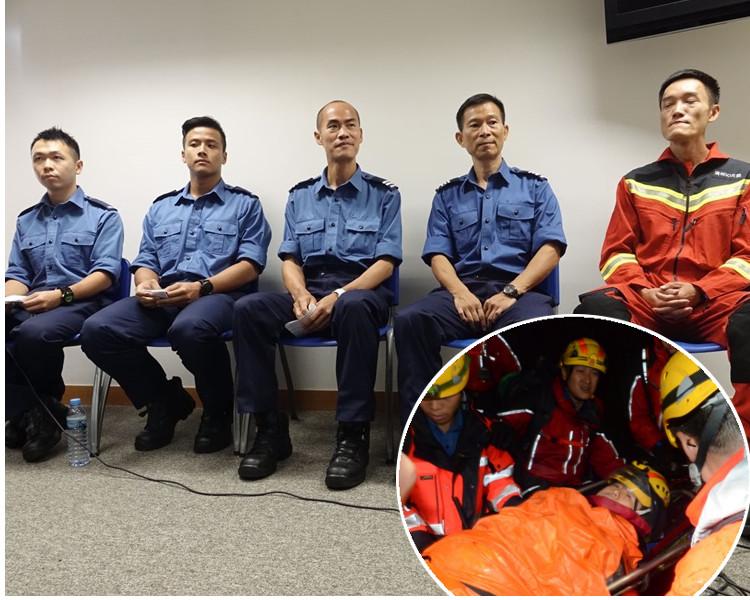 (左起)李栢強、蘇嘉祥 、蘇志榮、黃瑞其 及李巍講述當日救人經過。