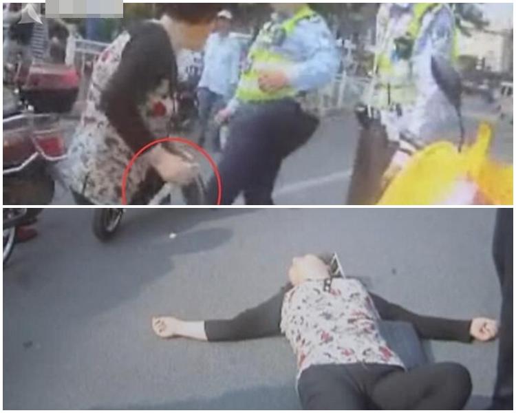 婦人被奪刀後,索性躺在地上耍賴。網上圖片