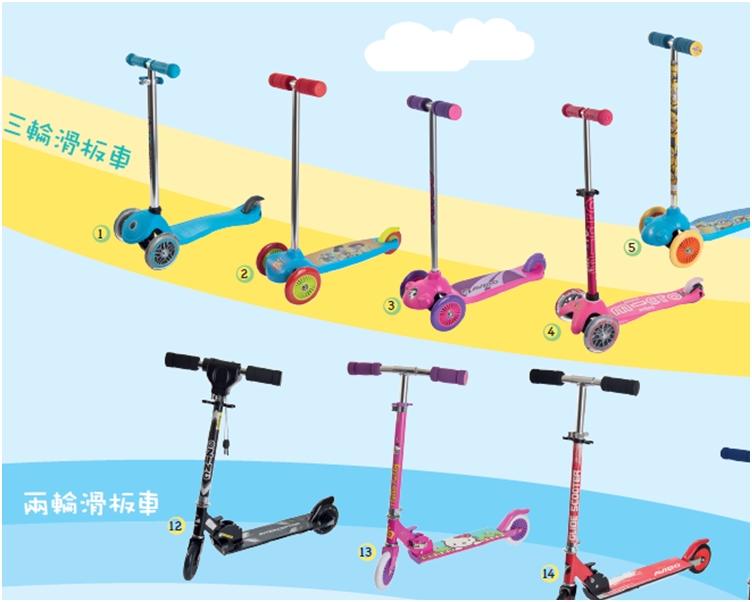 消委會測試的部分兒童滑板車。
