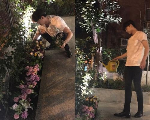 李鍾碩一朵朵花插好種在花圃,只為花兒不要凋謝得太花。