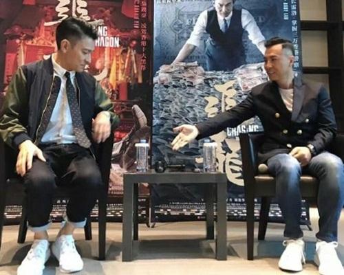 劉德華同甄子丹在廣州宣傳。