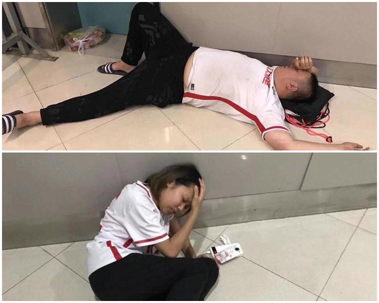 多名天津權健球迷倒地。網上圖片