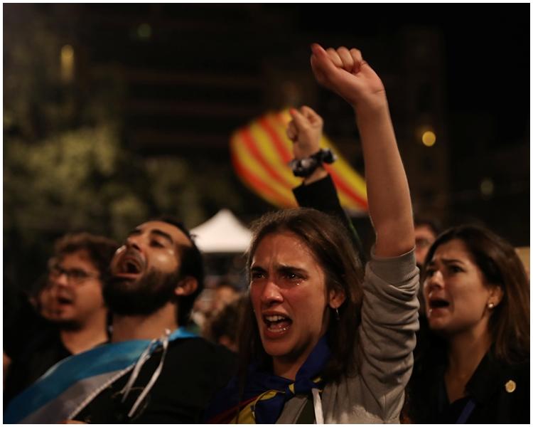 點票結果顯示,目前有90%加泰隆尼亞人贊成獨立。AP圖片