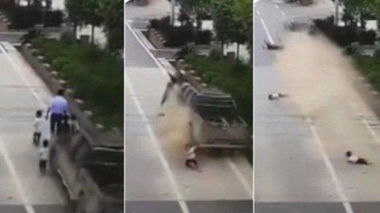 在馬路邊慢行的6人被一輛汽車從後撞飛(網上圖片)