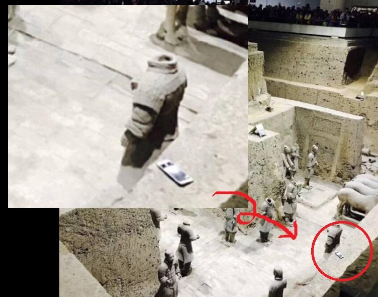 苦主上載事發後照片,可見兵馬俑土坑牆上有一部疑是iPhone手機。