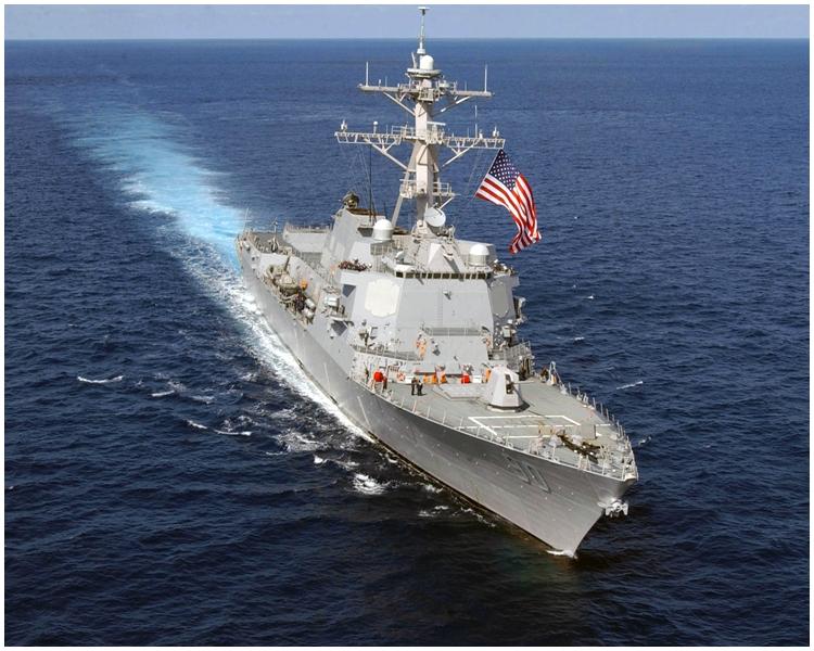 美國「查菲號」導彈驅逐艦。網上圖片