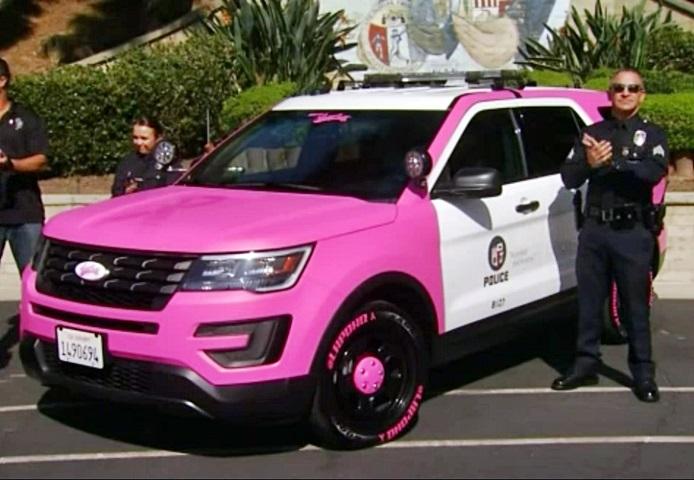 粉紅警車。網圖
