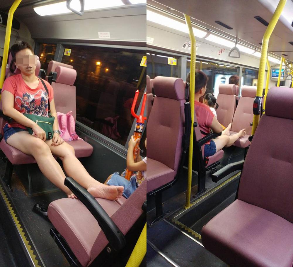 中年婦搭巴士除鞋晾腳,還聲大夾惡鬧人。