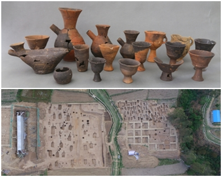 羊耳坡遺址(下)及出土陶器。