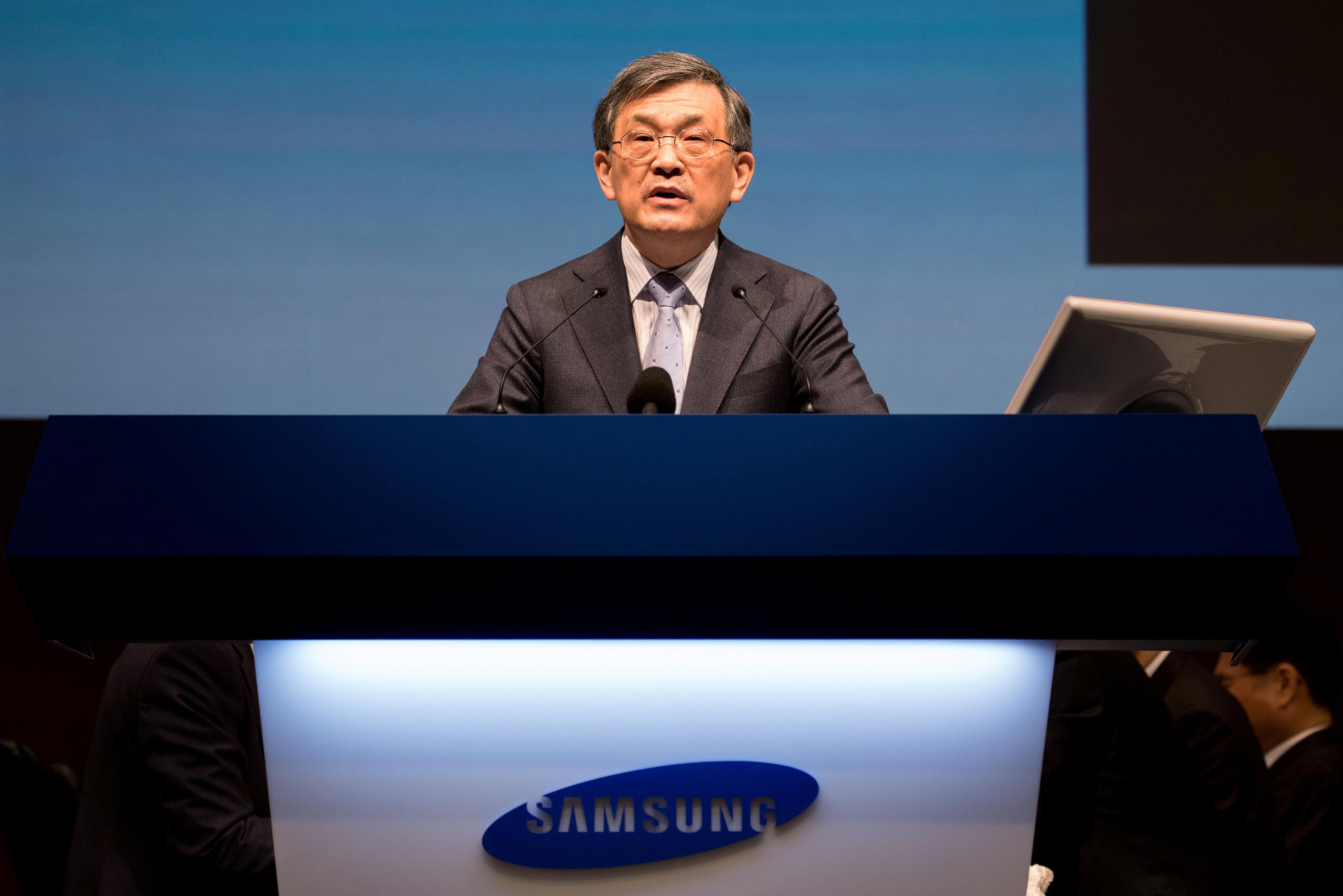 權五鉉於李在鎔入獄後,在公司內負責領軍,曝光率大增。AP