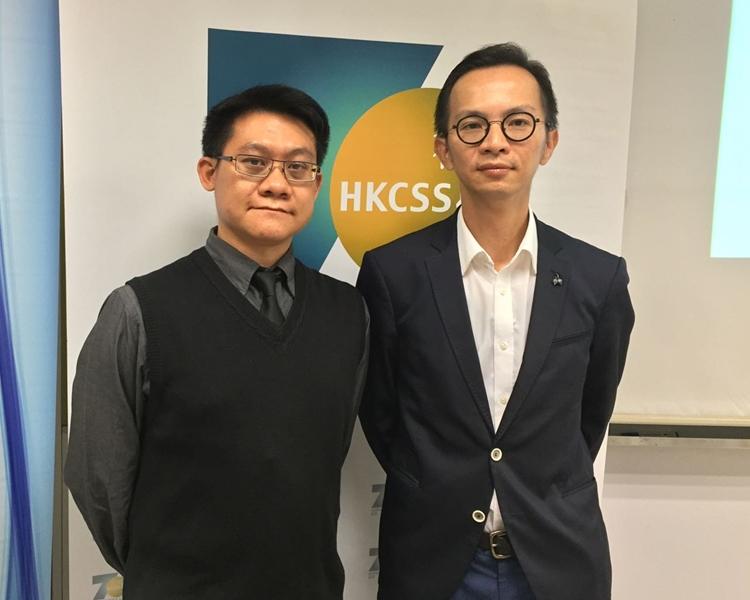 左起:港大民意研究計畫研究經理李偉健、社聯業務總監黃健偉