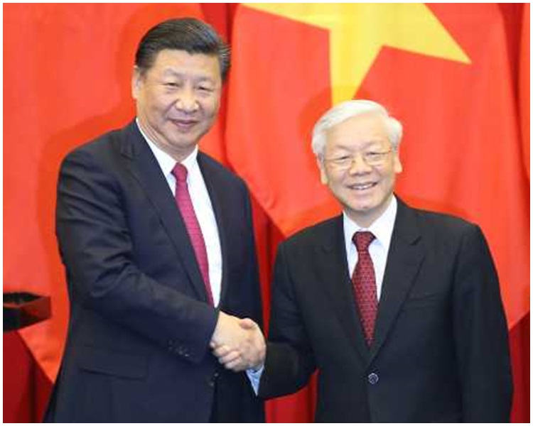國家主席習近平今早與越共中央總書記阮富仲再度會面。新華社圖片