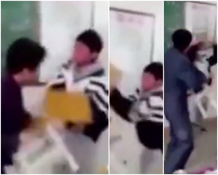 一名教師在學生搗亂期間,勸告無效後遭學生圍毆。