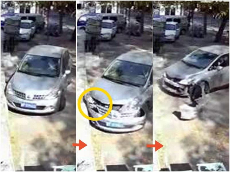 內地有司機倒車6次全撞牆,導致撞甩車頭才成功駛走。