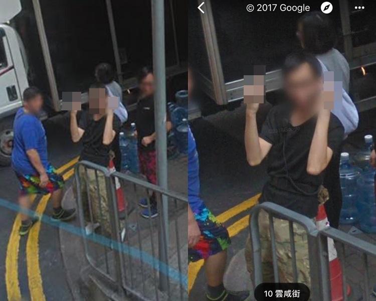 香港Google Map現奇人,黑衣男中環望鏡舉中指。Google Map圖片