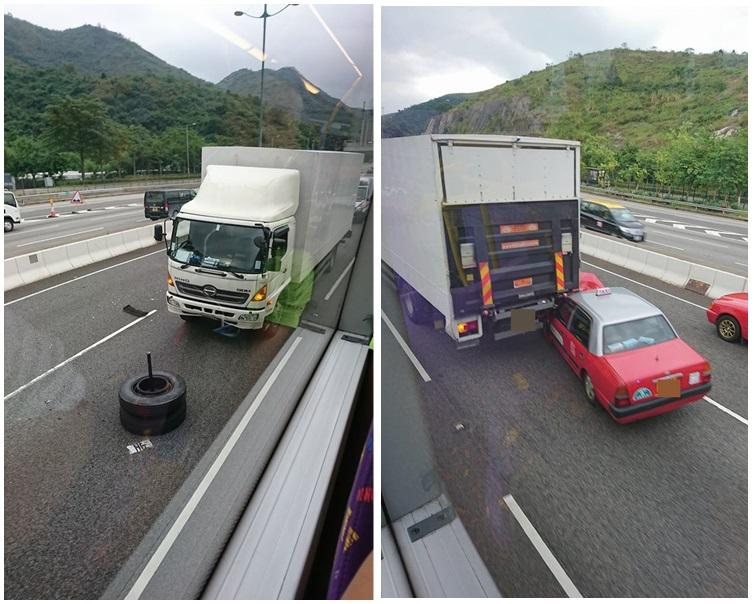 旅巴「甩轆」釀兩車相撞。圖:網民Lawrence Tam