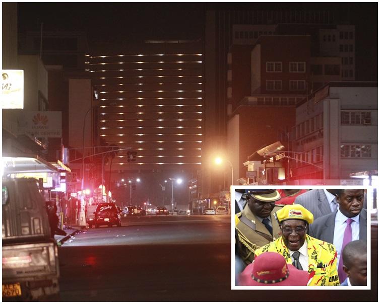 津巴布韋局勢叛亂意在推翻93歲總統穆加貝(小圖)。 AP