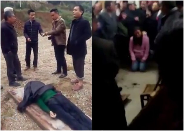 老婦跳河溺斃,其兒子和媳婦卻以「非正常死亡」、「破壞風水」為由,拒絕為老婦收屍殮葬,導致老婦曝屍岸邊。