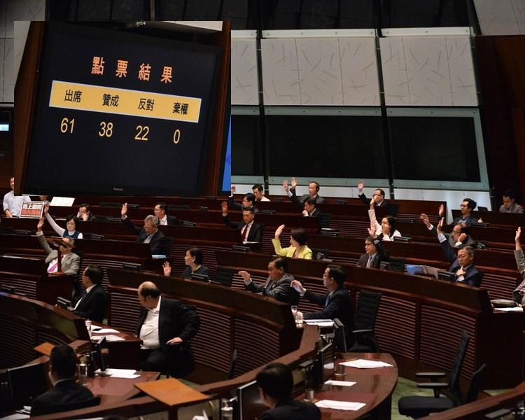 立法會以38票贊成22票反對,通過一地兩檢議案。