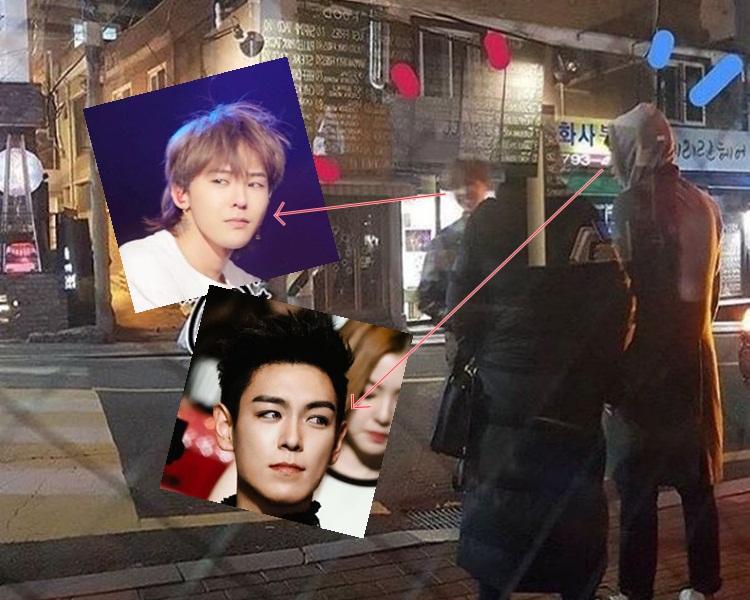 網民拍得GD與T.O.P在街頭寒喧照。