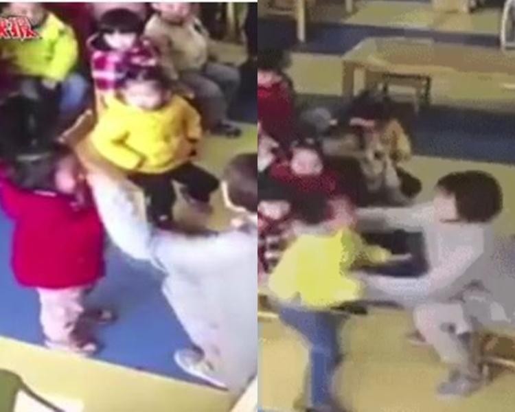幼師打女童掌摑男童,兩人嚇得大哭求饒。