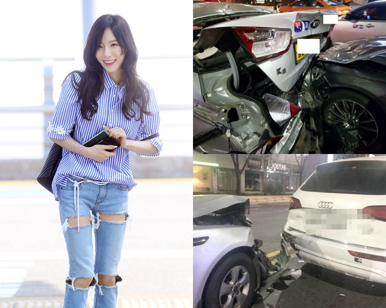 泰妍遇車禍後去了醫院檢查,現已返家休息。(網圖)