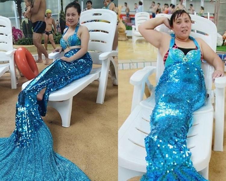 不少中年女士嘗試扮演美人魚。