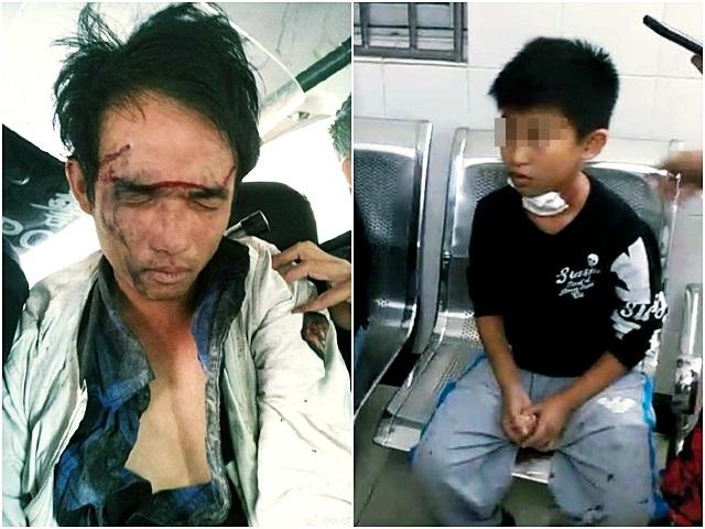 一名姓陳(左)男子今早闖入東郊鎮中心小學校園,以鎅刀劃傷該校5名小學生。