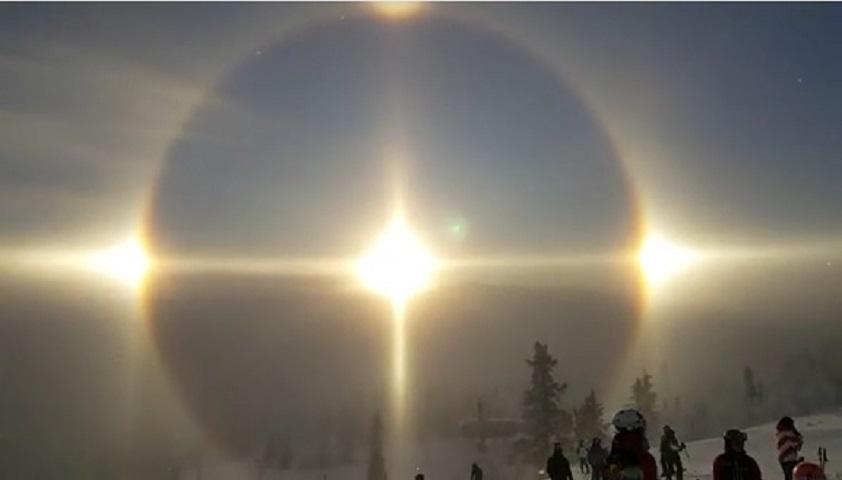 瑞典日前出現日暈,見到4個太陽。影片截圖