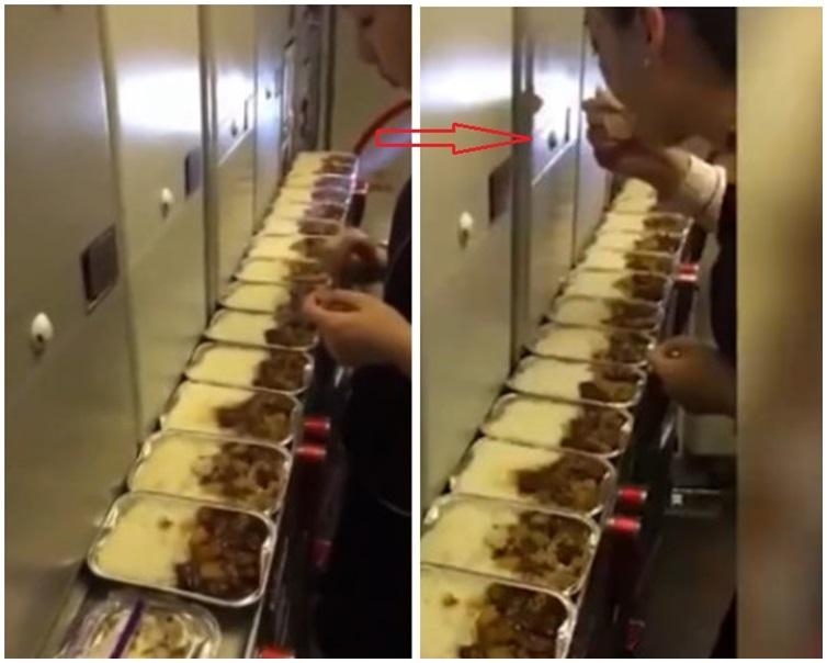 網上流傳一名空姐偷吃多份乘客剩餘飛機餐的片段。