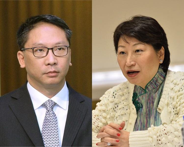 消息指袁國強(左)已遞信,一地兩檢「第三步」鄭若驊(右)接棒。資料圖片